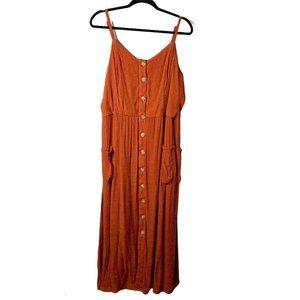 mlle gabrielle Burnt Orange Maxi Dress Size 2X XXL